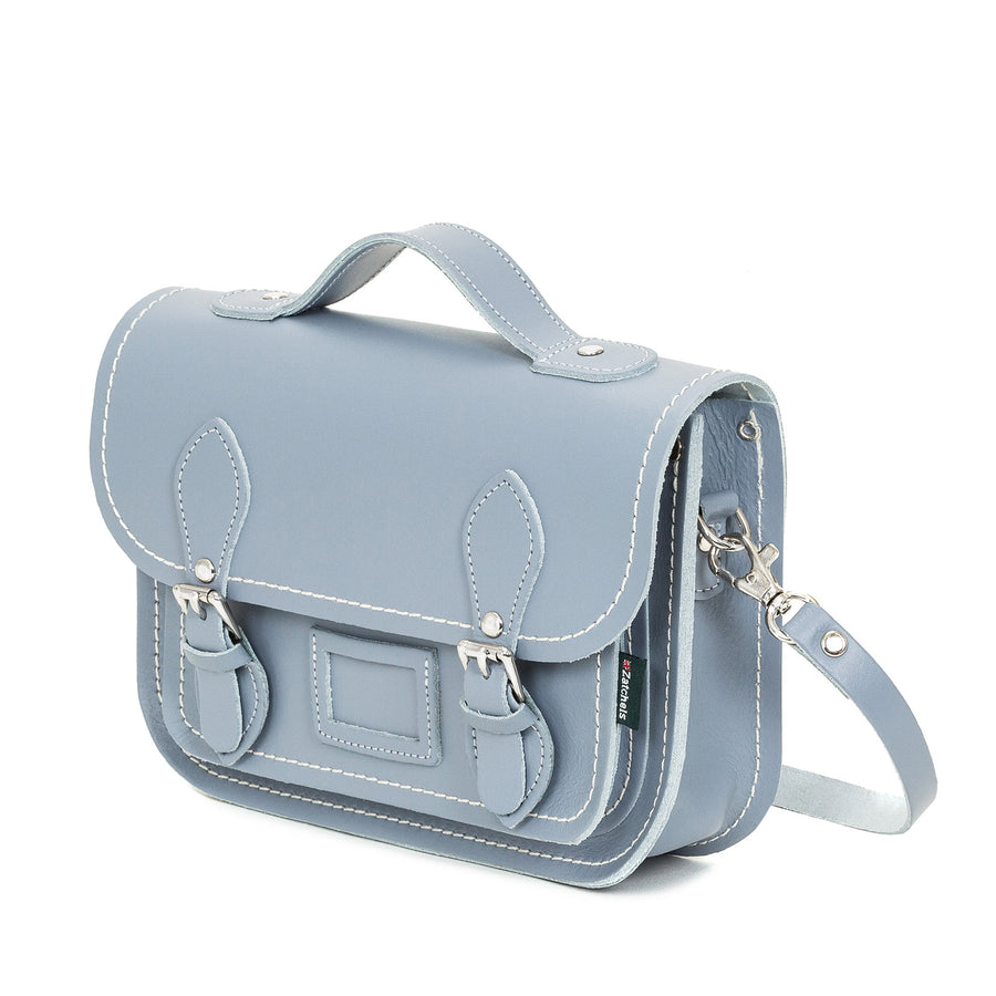 Lilac Grey Leather Midi Satchel