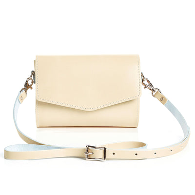 Pastel Cream Leather Clutch