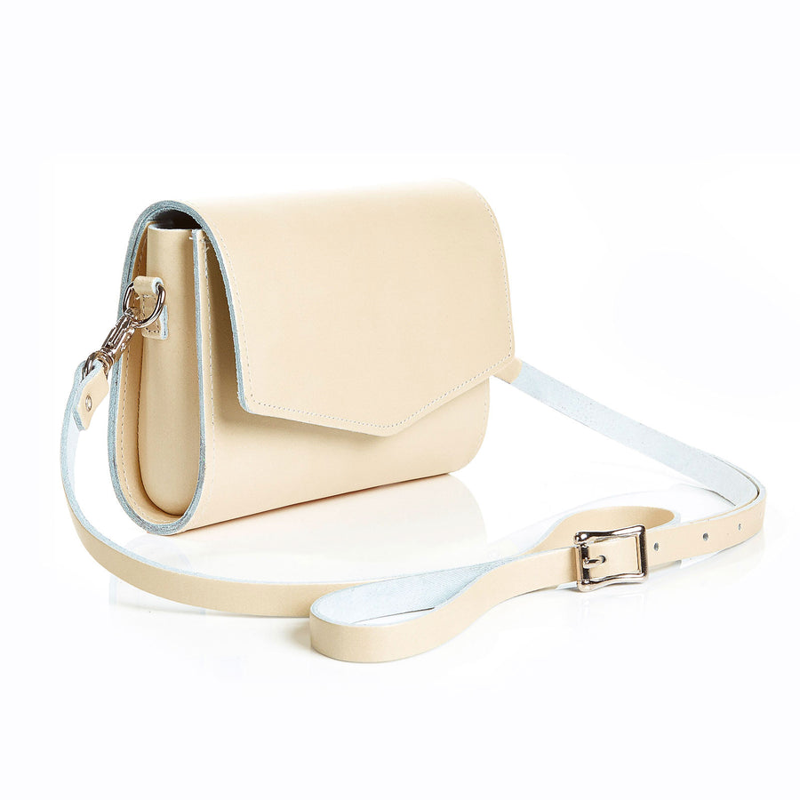 Pastel Cream Leather Clutch - Clutch Bag - Zatchels