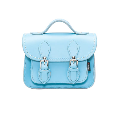 Pastel Baby Blue Leather Micro Satchel