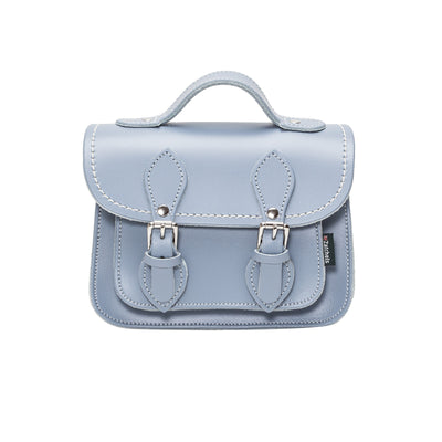 Lilac Grey Leather Micro Satchel