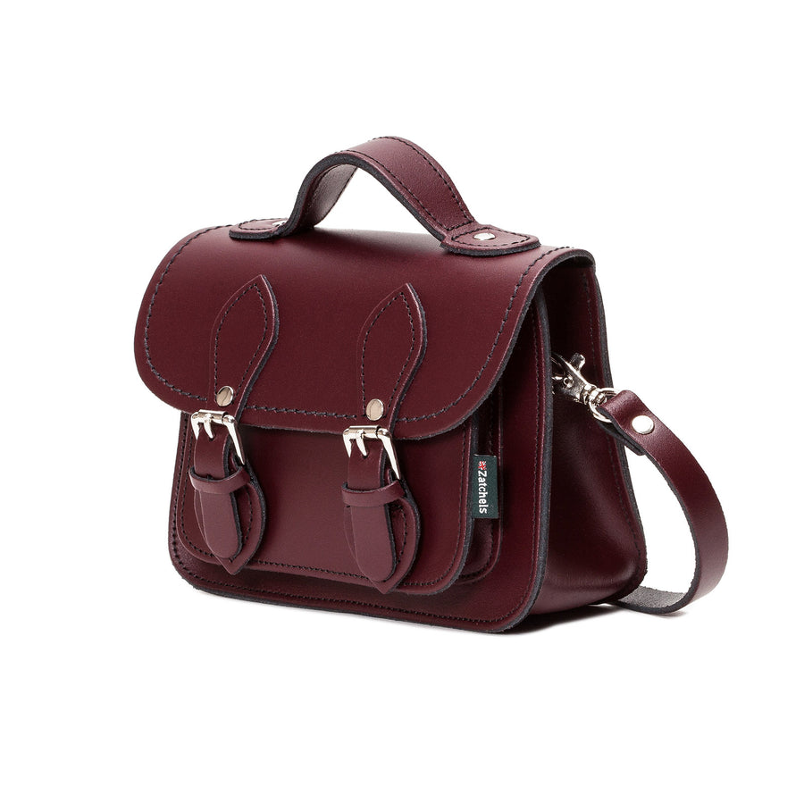 Marsala Red Leather Micro Satchel