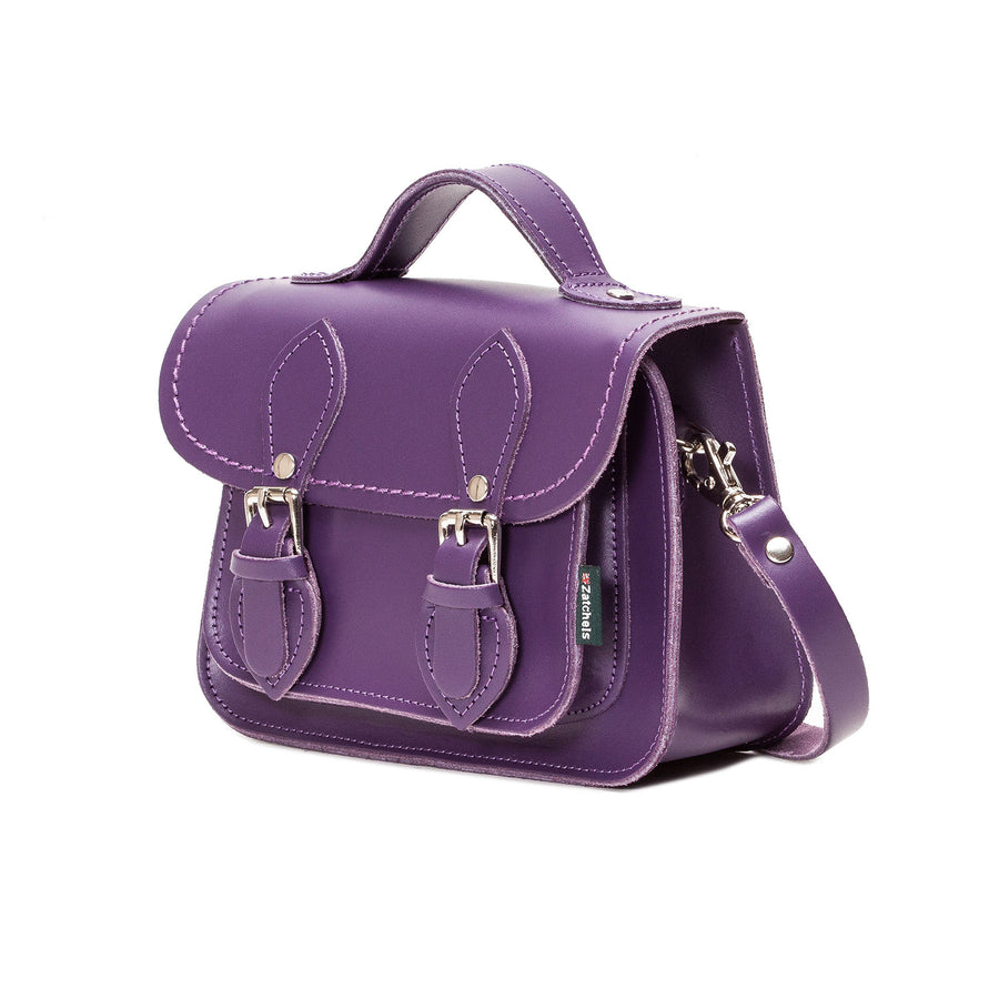 Purple Leather Micro Satchel