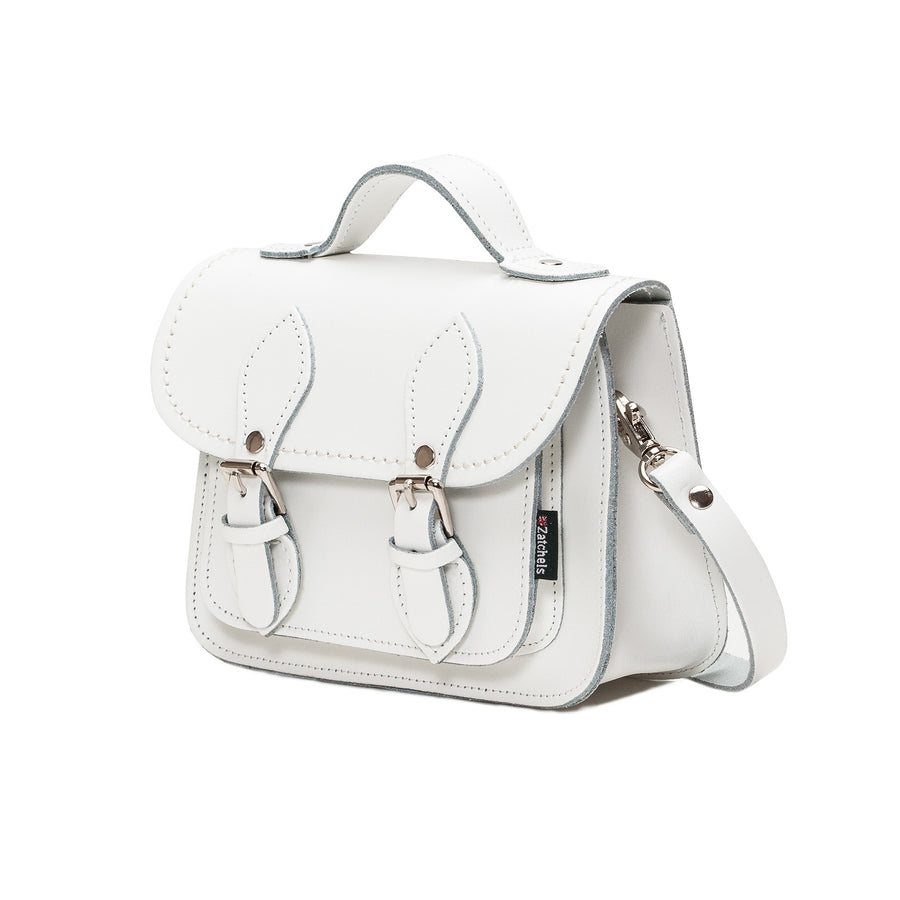 White Leather Micro Satchel