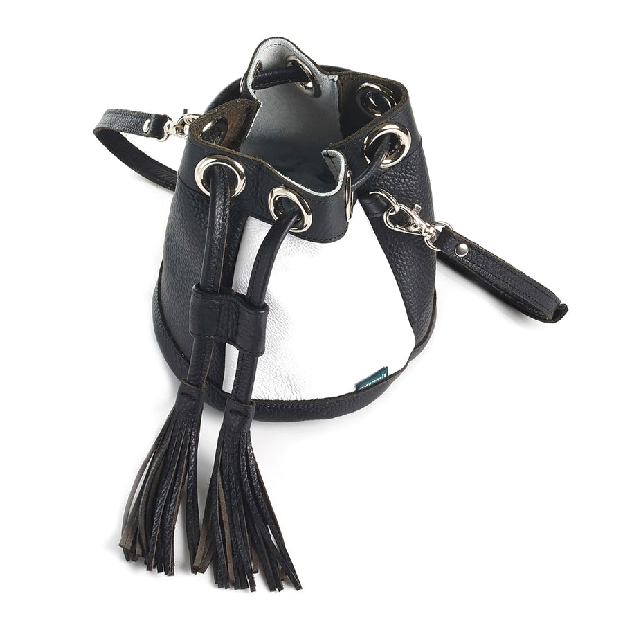 Monochrome Leather Bucket Bag