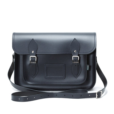 Navy Leather Satchel