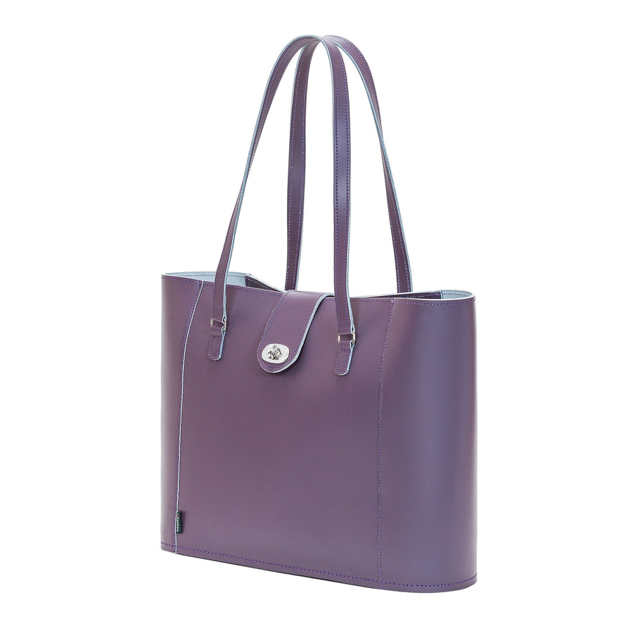Nile Leather Twist Lock Shopper