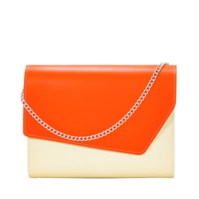 Orange Leather Edge Shoulder Bag