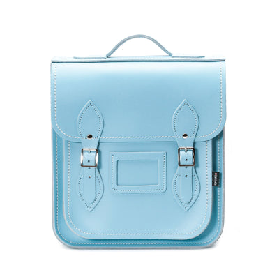 Pastel Baby Blue Leather City Backpack