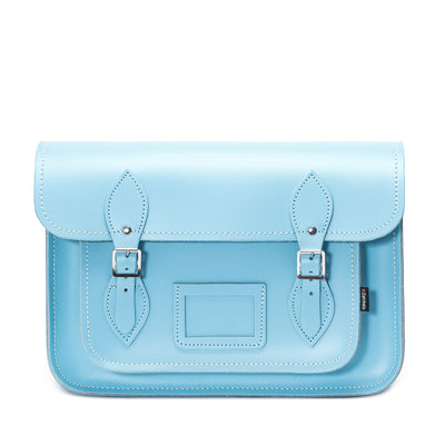 Pastel Baby Blue Leather Satchel