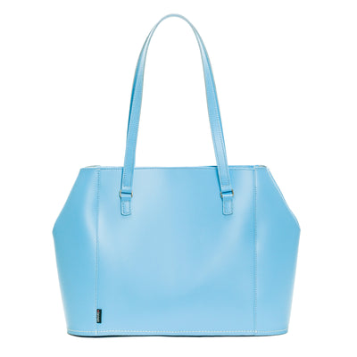 Pastel Baby Blue Leather Tote Bag