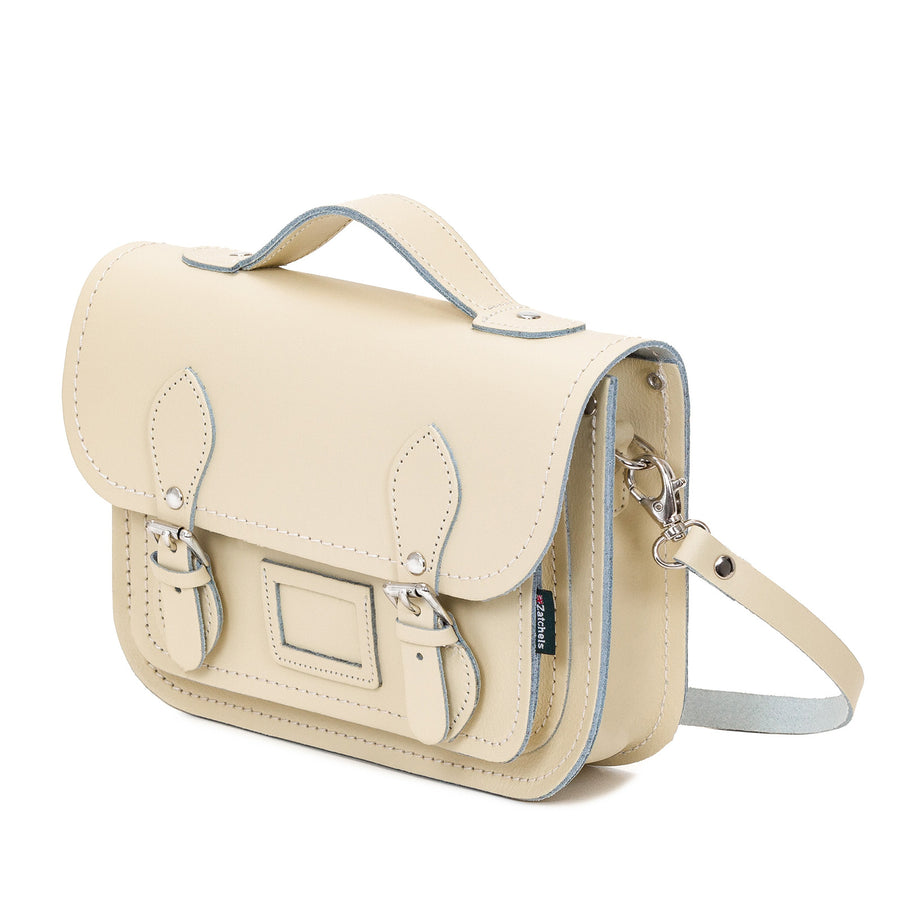 Pastel Cream Leather Midi Satchel
