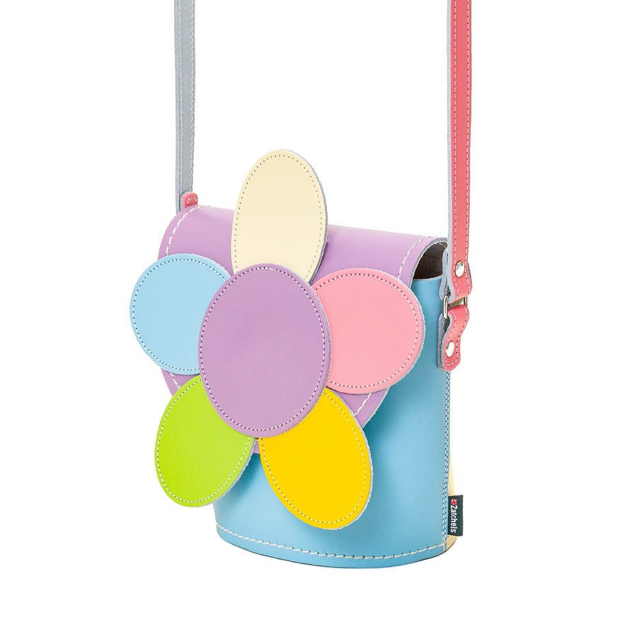 Pastel Kaleidoscope Daisy Leather Bag
