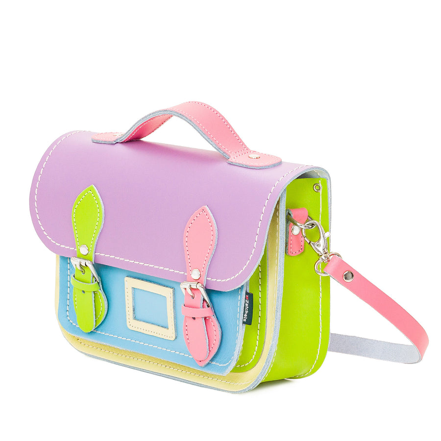 Pastel Kaleidoscope Leather Midi Satchel