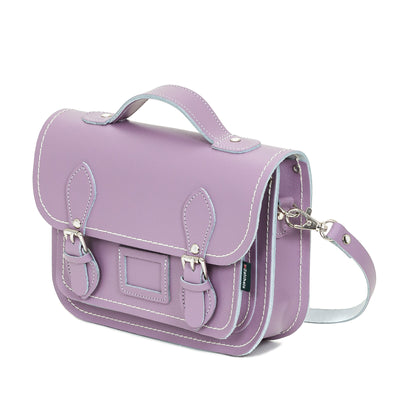 Pastel Violet Leather Midi Satchel
