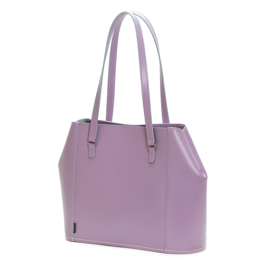 Pastel Violet Leather Tote Bag