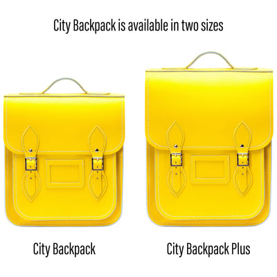 Pastel Daffodil Yellow Leather City Backpack