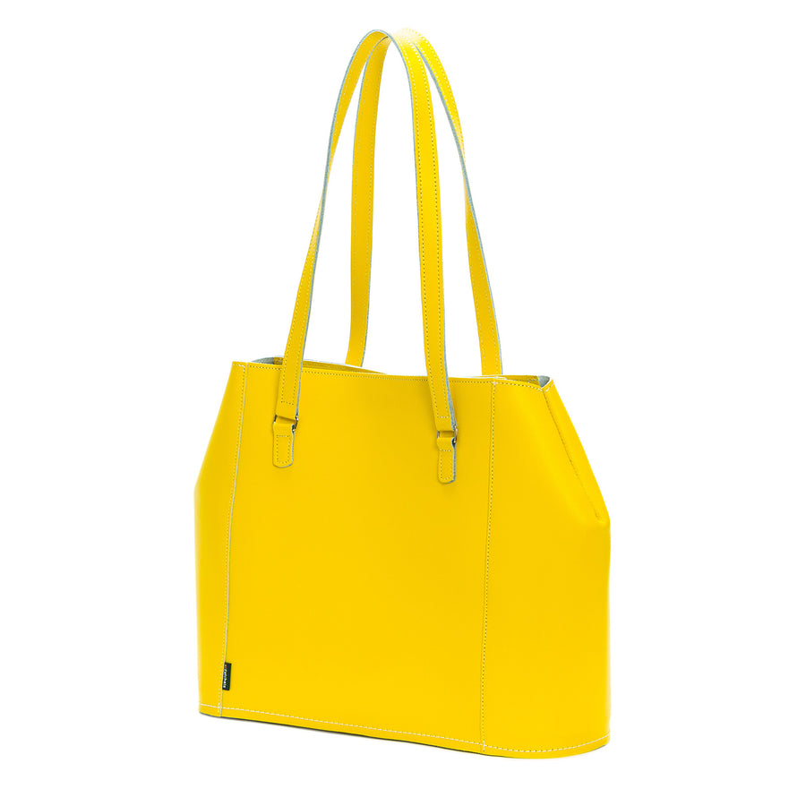 Pastel Daffodil Yellow Leather Tote Bag
