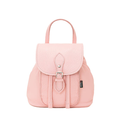 Peony Pink Leather Backpack - Backpack - Zatchels