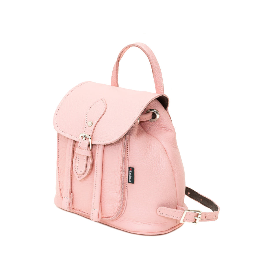 Peony Pink Leather Backpack