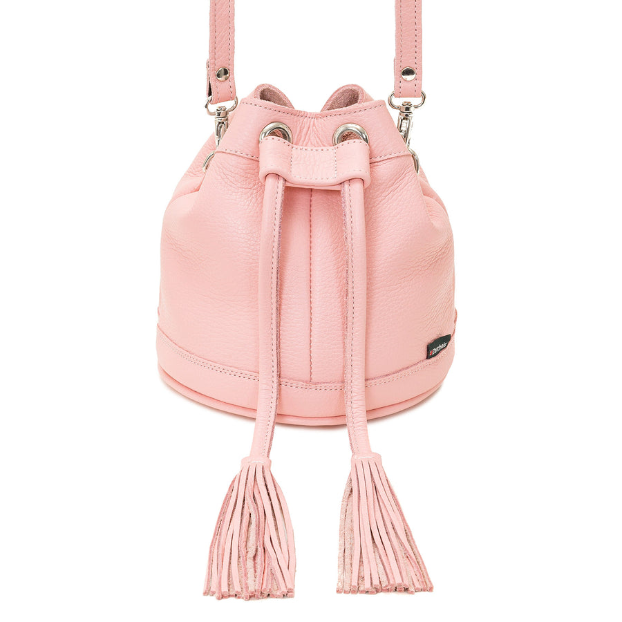 Peony Pink Leather Bucket Bag