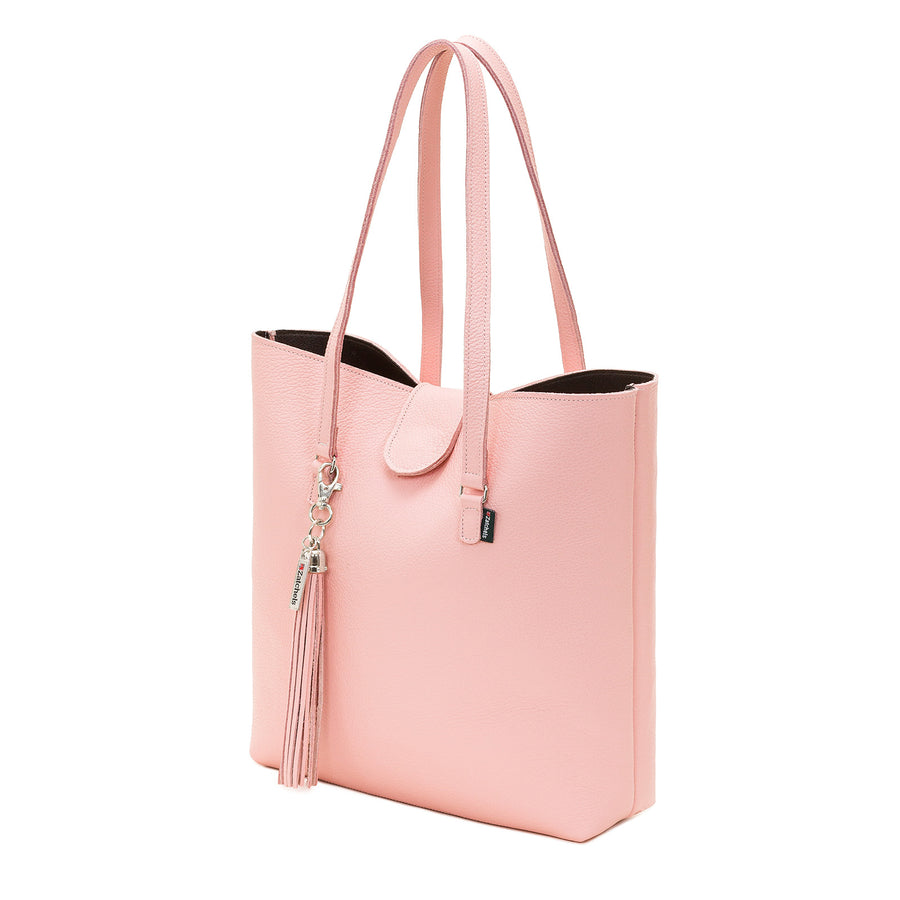 Peony Pink Leather Tote Bag