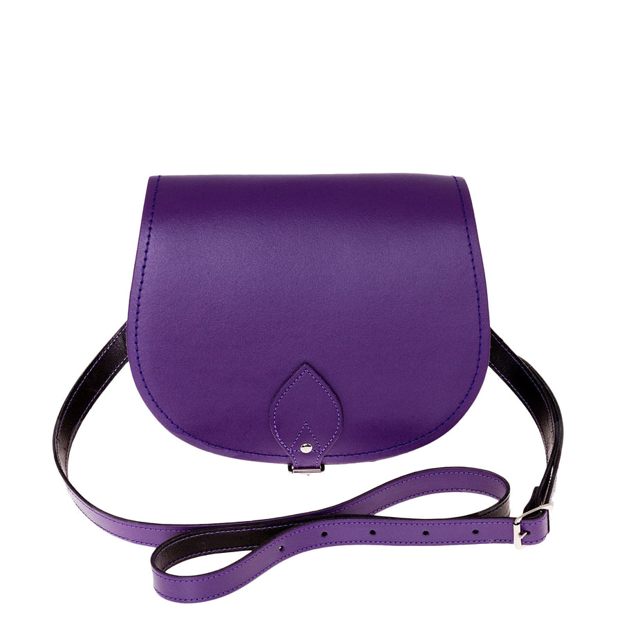 Purple Leather Saddle Bag