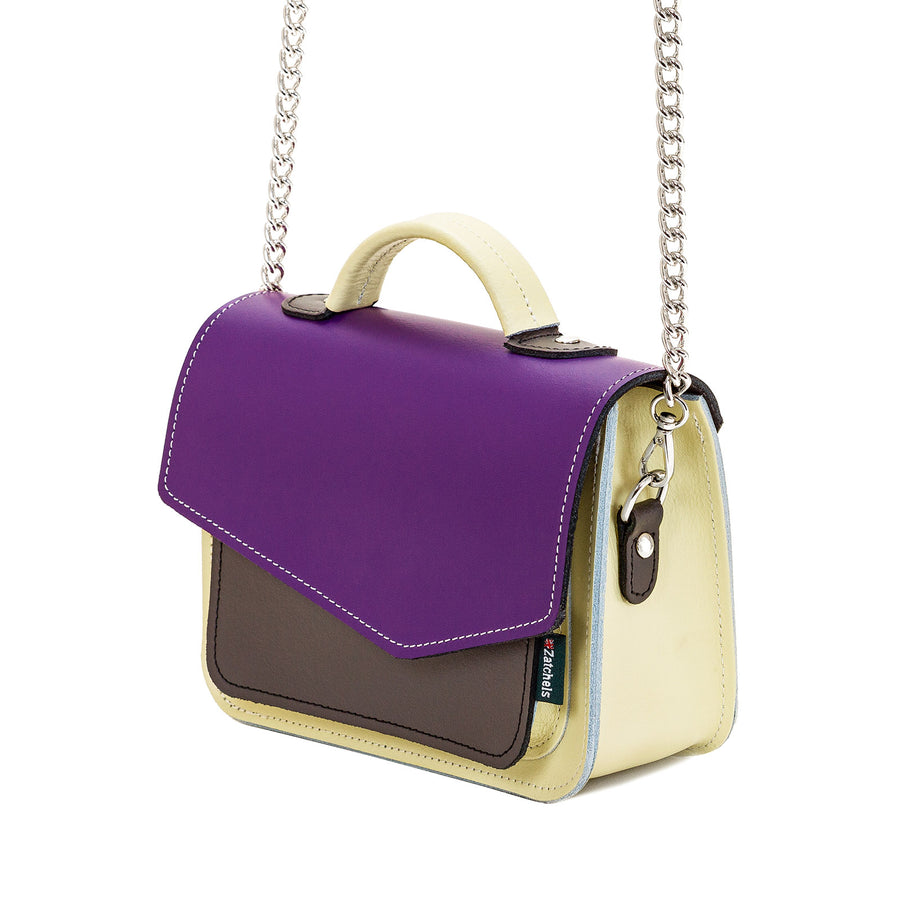 Purple Leather Edge Mini Cross Body Bag