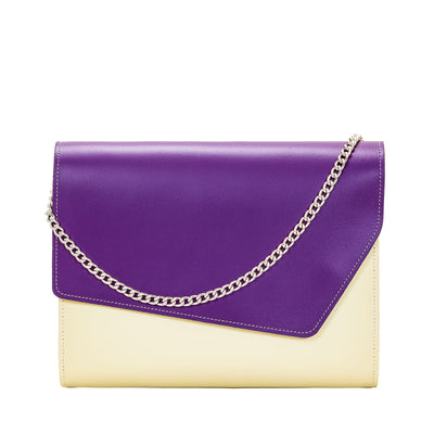 Purple Leather Edge Shoulder Bag - Shoulder Bag - Zatchels