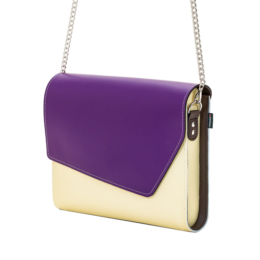 Purple Leather Edge Shoulder Bag
