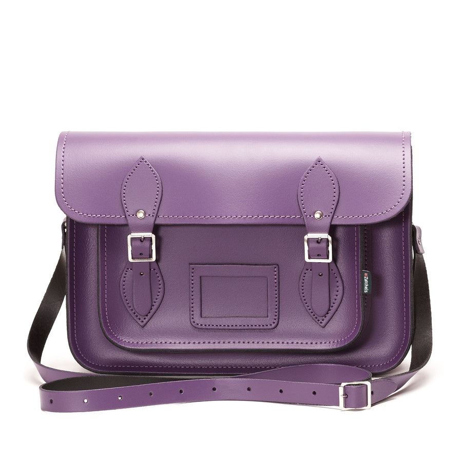 Purple Leather Satchel