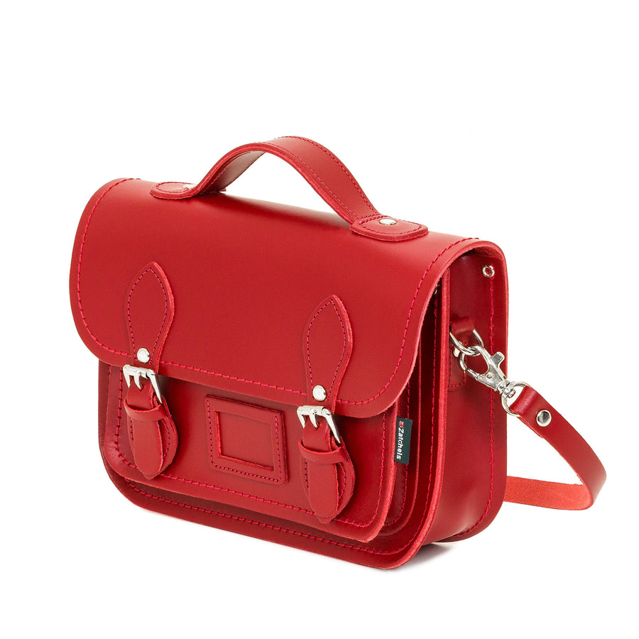 Red Leather Midi Satchel