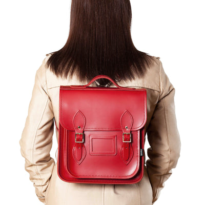 Red Leather City Backpack