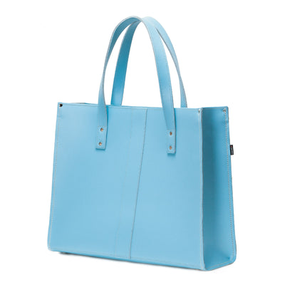 Pastel Baby Blue Leather Shopper