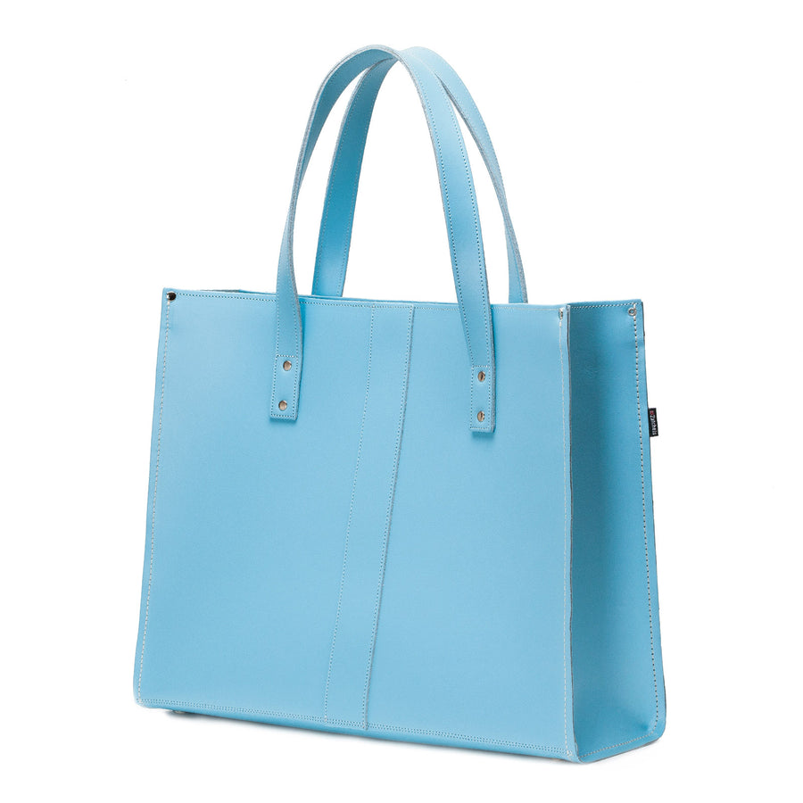 Pastel Baby Blue Leather Shopper - Shopper - Zatchels