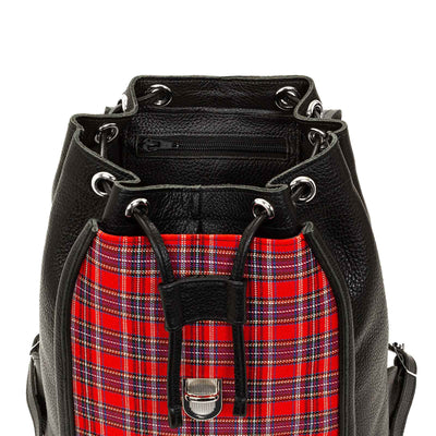 Red Tartan Leather Backpack - Backpack - Zatchels