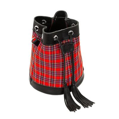 Red Tartan Leather Bucket Bag - Bucket Bag - Zatchels