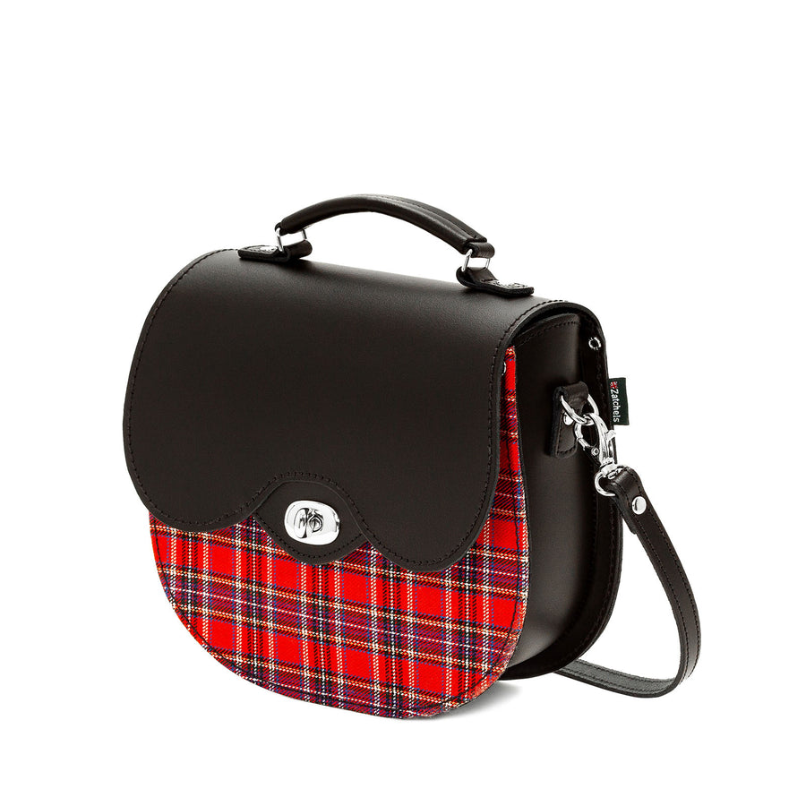 Red Tartan Leather Saddle Bag - Saddle Bag - Zatchels