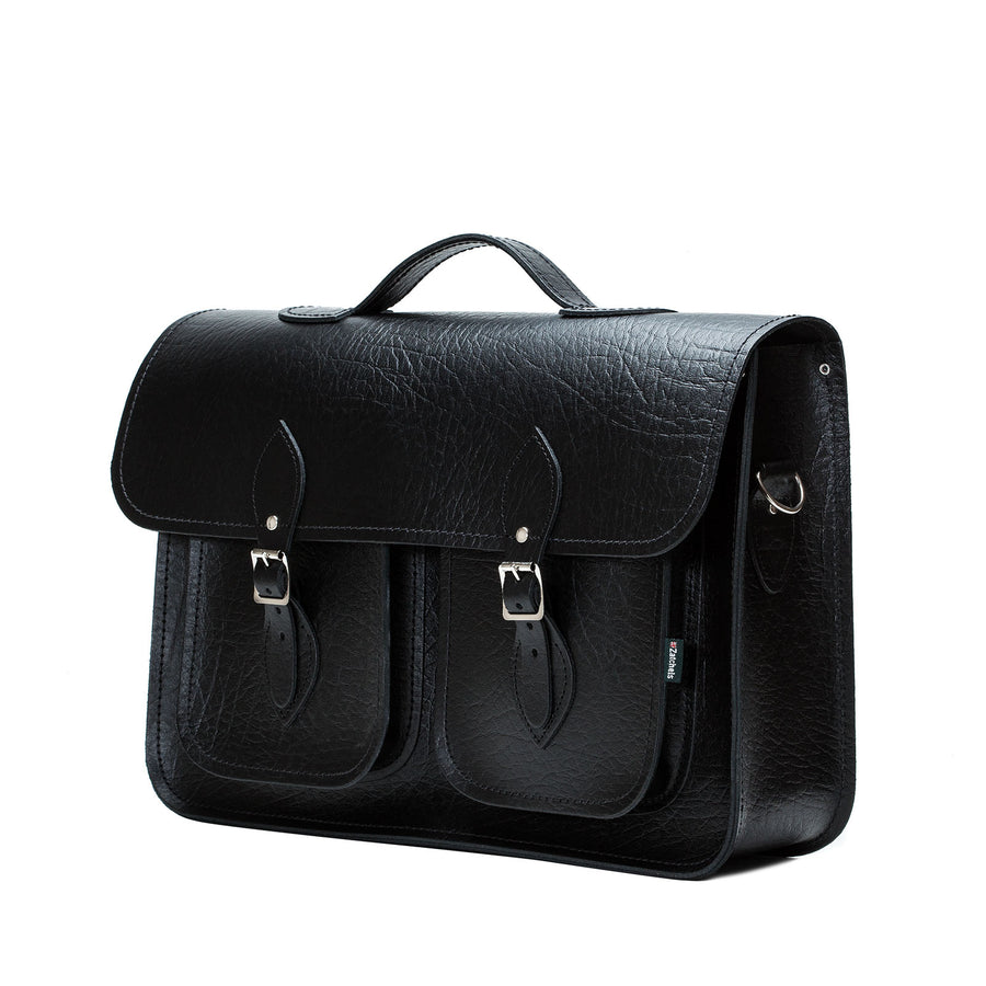 Black Twin Pocket Executive Leather Satchel - Satchel - Zatchels