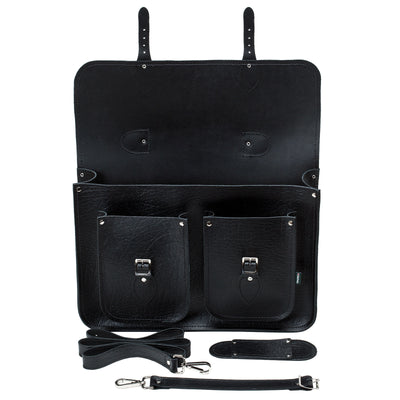 Black Twin Pocket Executive Leather Satchel