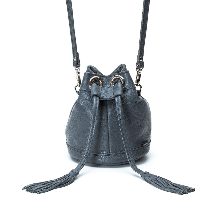 Grey Leather Bucket Bag