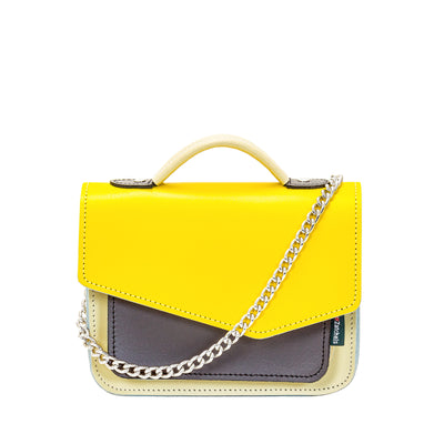 Yellow Leather Edge Mini Cross Body Bag