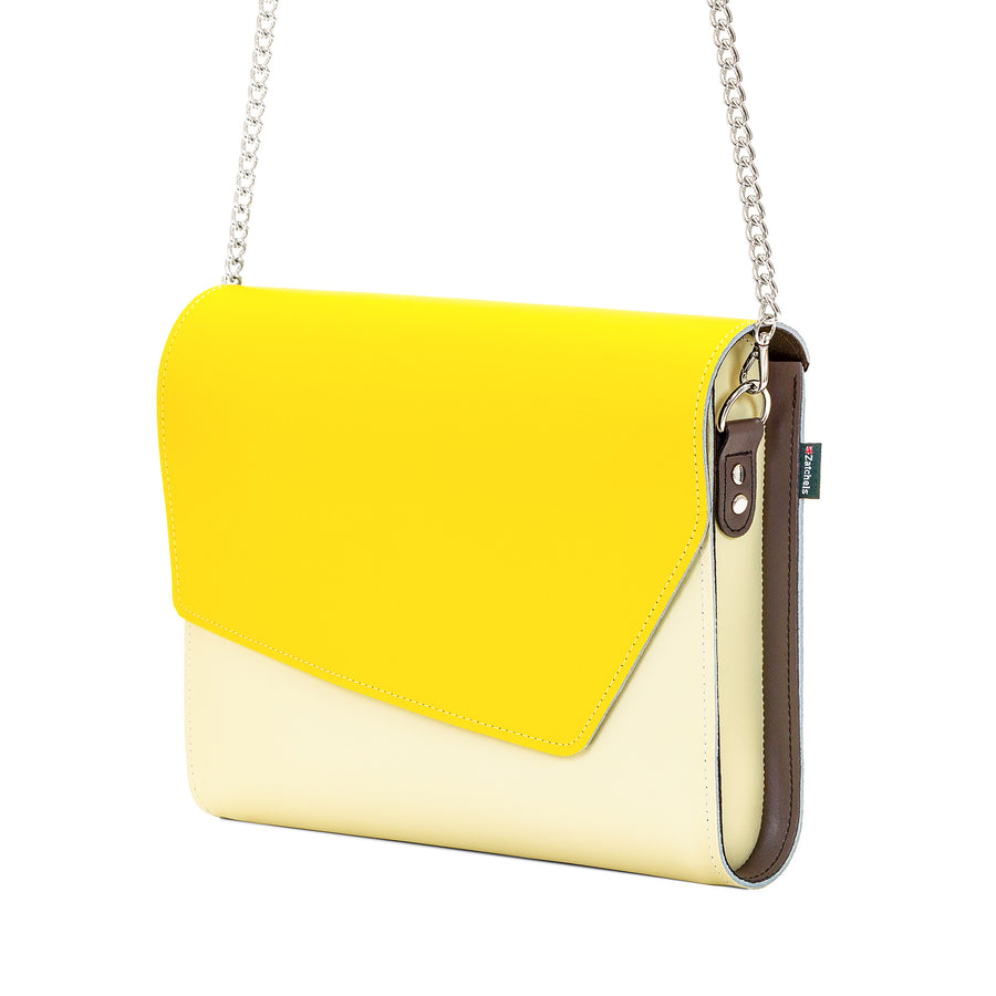 Yellow Leather Edge Shoulder Bag