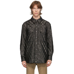 System Black Faux-Leather Quilted Shirt