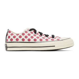 Converse Off-White and Pink Happy Camper Chuck 70 OX Sneakers