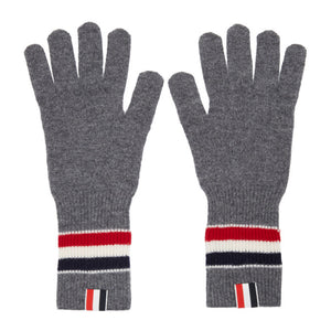 Thom Browne Grey Merino Rib RWB Stripe Gloves