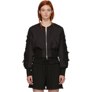 3.1 Phillip Lim Black Gathered Sleeve Bomber Jacket-BlackSkinny