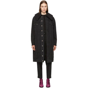 3.1 Phillip Lim Black Long Denim Sherpa Jacket-BlackSkinny