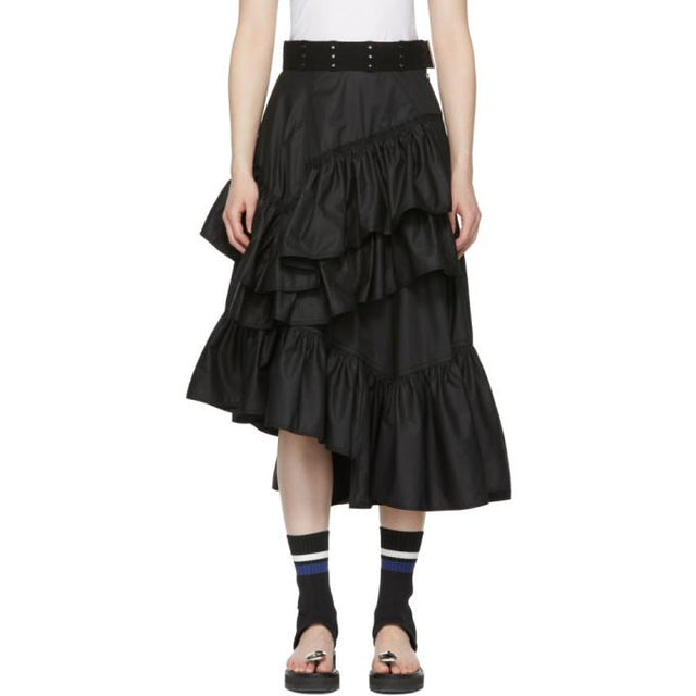 3.1 Phillip Lim Black Multi-Layer Flamenco Skirt-BLACKSKINNY.COM
