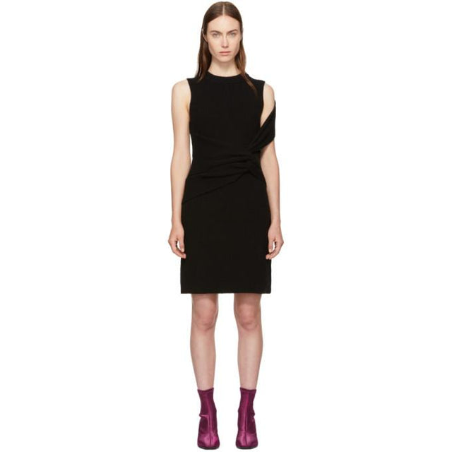 3.1 Phillip Lim Black Ribbed Twist Dress-BLACKSKINNY.COM